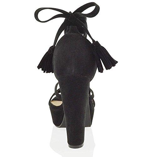 ESSEX GLAM Gamuza Sintética Sandalias de antelina con tacón alto cuadrado y plataforma Negro Gamuza Sintética