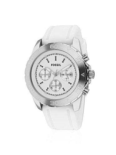 Fossil White Silver Dial (Fossil Chronograph Silver Dial White Rubber Mens Watch BQ1179)