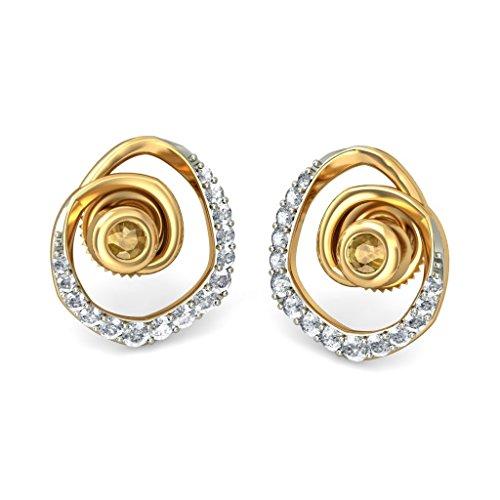 14K jaune Or 0,27CT TW White-diamond (IJ   SI) et citrine Boucles d'oreille à tige