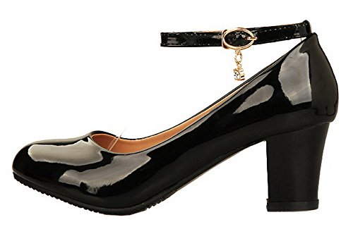 AllhqFashion Leather Toe Heels Kitten Shoes Pumps Patent Black Buckle Round Womens TxAqXUrwT