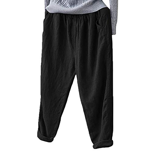 (Helisopus Women's Elastic Waist Casual Relaxed Loose Fit Cotton Linen Pants Harem Trousers Cropped Pants Black)