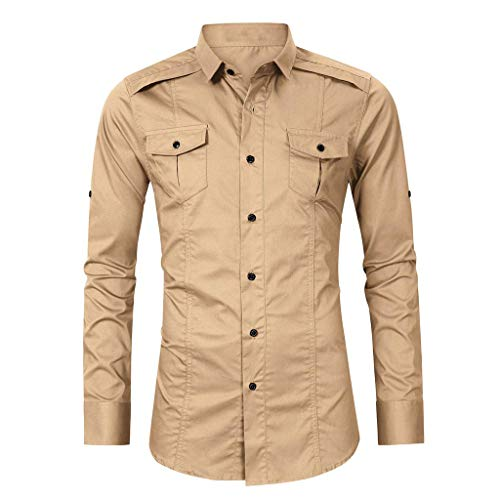 Kiasebu Men's Tooling Long-Sleeved Shirt Solid Classic Button Up Business Casual Slim Fit Dress Shirts Khaki