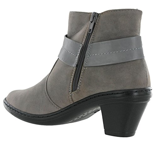 Grey Boots Block Cushion Bow Ladies Walk Heel Ankle Side Zip Womens Padded vRUnHSR