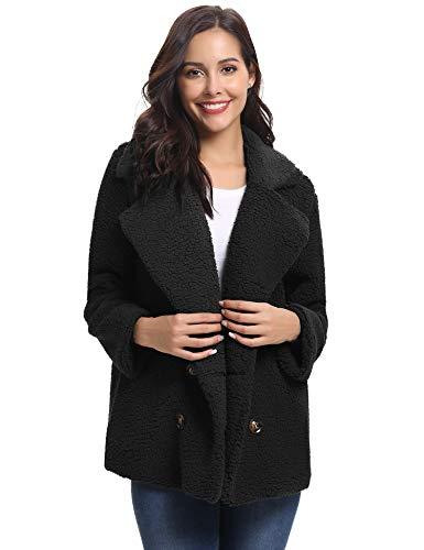 Abollria Women's Long Sleeve Coat Casual Lapel Fleece Fuzzy Faux Shearling Warm Winter Oversized Outwear Jackets -