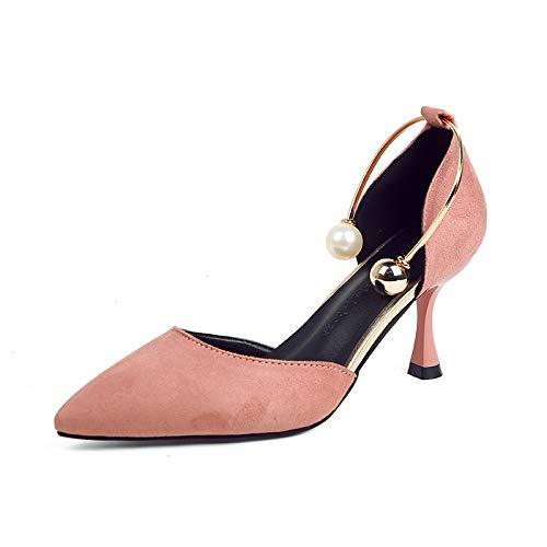 Aguja de zapatos Zapatos Princesa tacón Tacones Altos Tacones De Yukun alto Poco Tacones Otoño Pink Profundos Aguja De wzqdB1