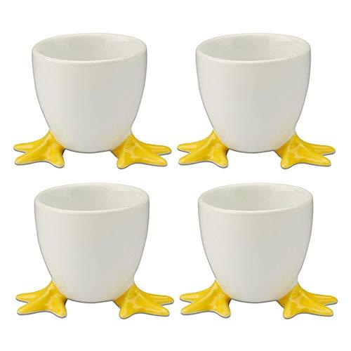 - Cordon Bleu White Porcelain Egg Cups with Yellow Chicken Feet - Set of 4