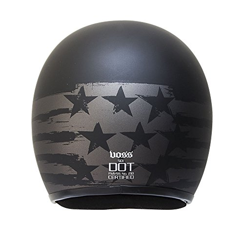 Voss 501 Two Tone Patriot Low Profile DOT Fiberglass Open Face Helmet with Metal Quick Release Mens Slim Shell Lightweight Bobber Retro - L - Two Tone Black