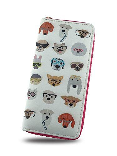 Cartoon Girl Wallet,Credit Card Holder with Zipper For Women,Print Animal,Dog & Cat by TZECHO
