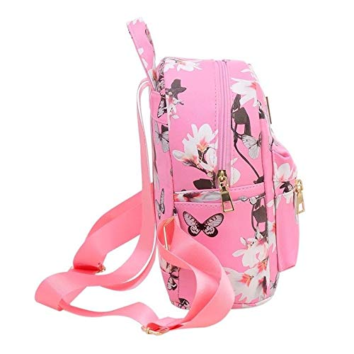 Donalworld Women Floral School Bag Travel Cute PU Leather Mini Backpack S Col6 by Donalworld (Image #3)