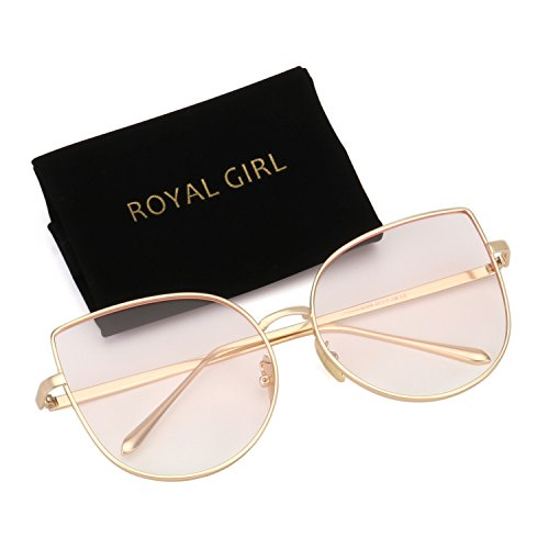 ROYAL GIRL Cat Eye Sunglasses For Women Fashion Big Metal Frames Light Pink Lens - Big For Sunglasses Nose