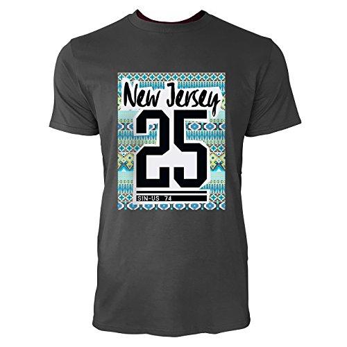 SINUS ART® New Jersey 25 mit Ethno Hintergrund Herren T-Shirts in Smoke Fun Shirt mit tollen Aufdruck