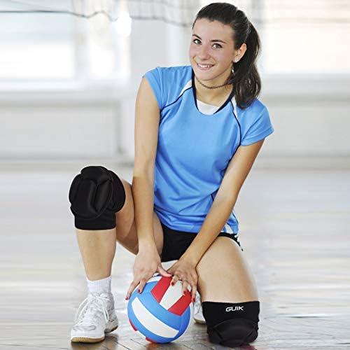 GUIK 保護用膝パッド バレーボール/スケートボード/スケート/スケート/太いスポンジ用 滑り止め 高弾性 ブラックカラー 1組