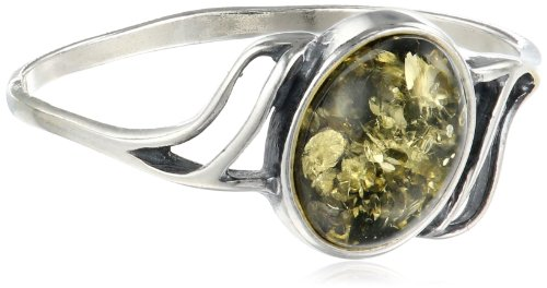 Sterling Silver Green Amber Small Oval Ring, Size 8 Amber Collection Green Ring
