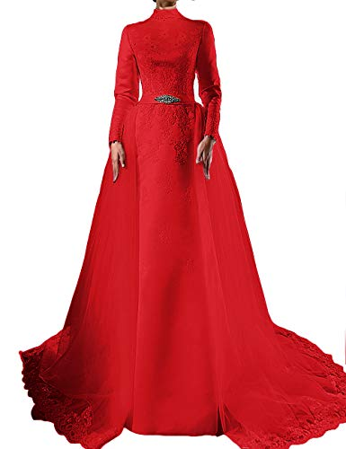 Sweeping Train Satin - LEJY Vintage Long Sleeve High Neck Muslim Wedding Dresses Evening Gowns with Detachable Skirt 2019 Red Customized