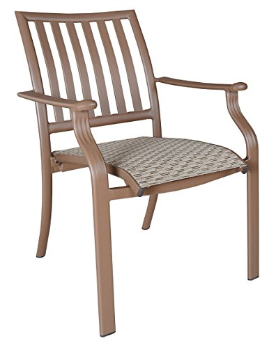 Panama Jack Island Breeze Stackable Sling Arm Chair, Espresso Finish - Relaxed, tropical-style piece finished in a powder coated espresso finish Extruded Aluminum Frame with Twitchell fiber Weather and UV resistant - patio-furniture, patio-chairs, patio - 41fK1Ev0DBL -