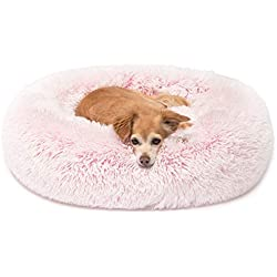 Cute Snuggle Pink Dog Bed Cuddler, Round Donut Pet Beds for Small Cat to Medium Dogs, Small Pink