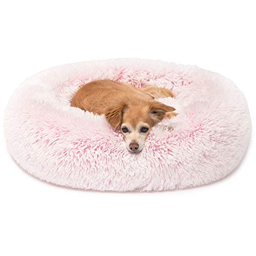 (Cute Snuggle Pink Dog Bed Cuddler, Round Donut Pet Beds for Small Cat to Medium Dogs, Small Pink )