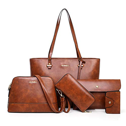 Women's Leather Tote Shoulder Bag Large Purses and Handbags Set 5pcs (Brown)