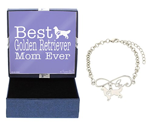 Best Golden Retriever Mom Ever Love Infinity Charm Golden Retriever Bracelet Gift Silhouette Charm Bracelet Silver-Tone Bracelet Gift Golden Retriever Owner Jewelry Box