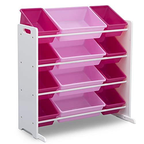 41fK1jKKwPL - Delta Children Kids Toy Storage Organizer with 12 Plastic Bins, White/Pink