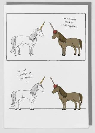 from The Little World Of Liz Range Plunger On Horse Humour Blank Greeting Card - RB-LC47 - Unicorn