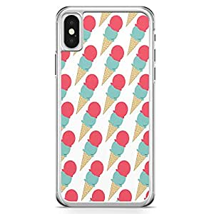 iPhone X Transparent Edge Phone Case Ice Cream Phone Case Pink Pattern iPhone X Cover with Transparent Frame