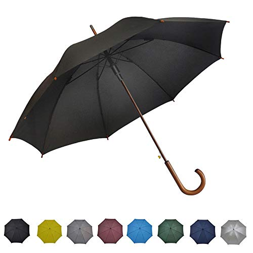 Plain Curved Handle - SoulRain Stick Umbrella Automatic Open Curved Wooden Hook Handle Rain Black Umbrellas with Classic J Handle 48