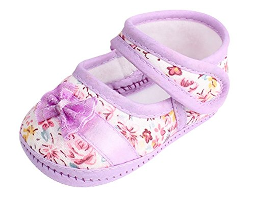(Lurryly Baby Girl Soft Sole Bowknot Print Anti-Slip Casual Toddler Girls Shoes 0-18 M (Size:12, Age:6~12M, US:3, Purple))