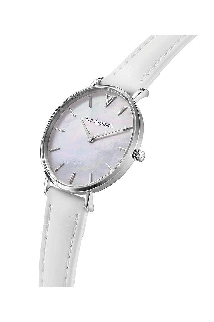 Paul Valentine Silver Seashell - Reloj de Pulsera para Mujer (32 mm), Color Blanco: Amazon.es: Relojes