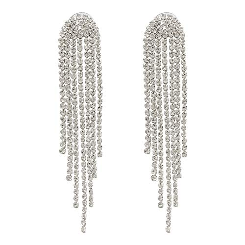 SELOVO Clear Austrian Crystal Chandelier Tassel Long Big Statement Chain Dangle Drop Earrings Silver Tone
