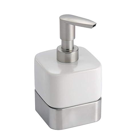 hot sale online top design wholesale dealer mDesign Compact Square Ceramic Refillable Liquid Soap Dispenser Pump Bottle  for Bathroom Vanity Countertop, Kitchen Sink - Holds Hand Soap, Dish Soap,  ...