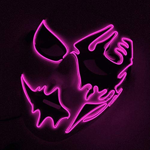 wsloftyGYd Halloween Cosplay Mask Frightening LED EL Wire Light Up Festival Makeup Party -