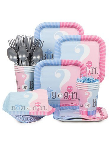 Baby Gender Reveal Partyware Kit Blue amp Pink Includes 20 Plates 24 Napkins 24 Cups amp 18 Piece Cutlery Set