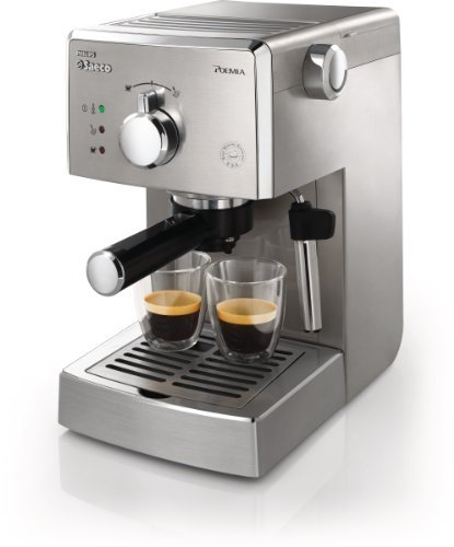 Semi Automatic Traditional Espresso Machine (Saeco HD8327/47 Poemia Top Espresso Machine, Stainless Steel)
