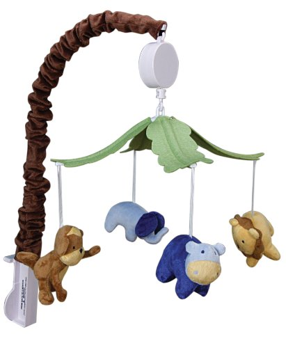 Trend Lab Plush Jungle Animals Musical Crib Mobile, Baby Mobile, Green Safari Animal Nursery Decor