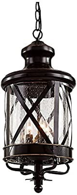 "Trans Globe Lighting 5126 ROB Outdoor Chandler 25.25"" Hanging Lantern, Rubbed Oil Bronze"