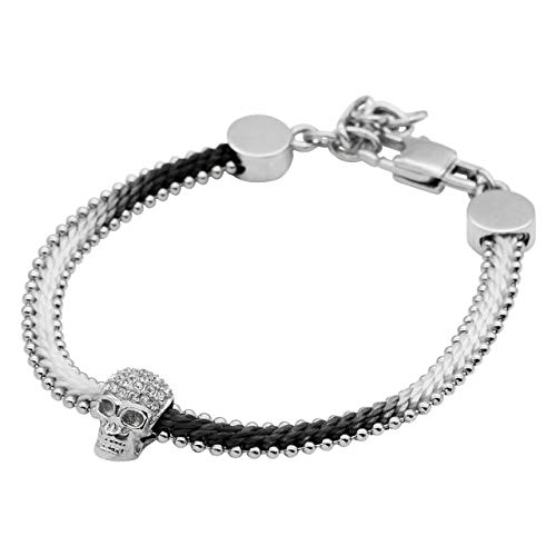 True N' Raven Skull Bracelet Steel Skull Cotton Cord Bracelet