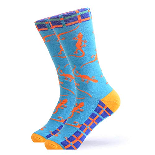 WeciBor Men's Dress Cool Colorful Fancy Novelty Funny Casual Combed Cotton Crew Socks (Gecko)
