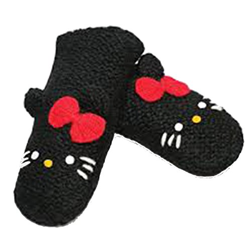 Delux Knitwits Kids Hello Kitty Mittens Black ()