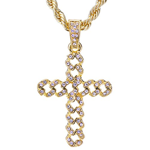Men's 14 K Gold Plated Hip Hop Iced Out Yellow (Cubic Zirconia Rope Cross)
