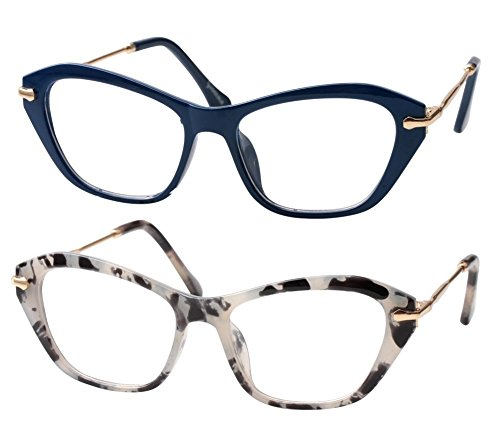 SOOLALA Womens Quality Fashion Alloy Arms Cateye Customized Reading Glasses, BlueGlass, ClearLens (Clearlens)