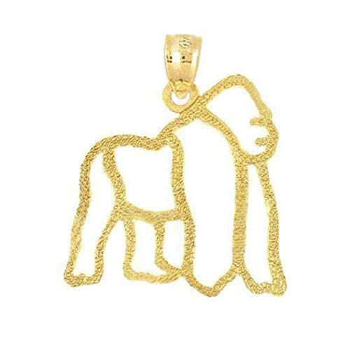 SURANO DESIGN JEWELRY 14k Yellow Gold Silverback Gorilla Monkey Pendant, Made in USA