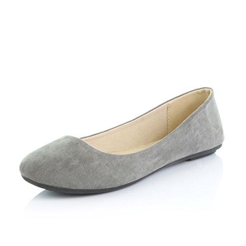 DailyShoes Women's Comfortable Soft Round Flat Slip-On Padded Loafer Casual Shoes, Grey...