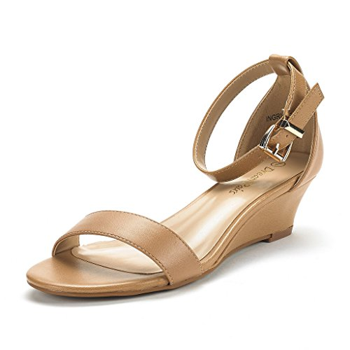 DREAM PAIRS Women's Ingrid Nude Pu Ankle Strap Low Wedge Sandals Size 11 M US