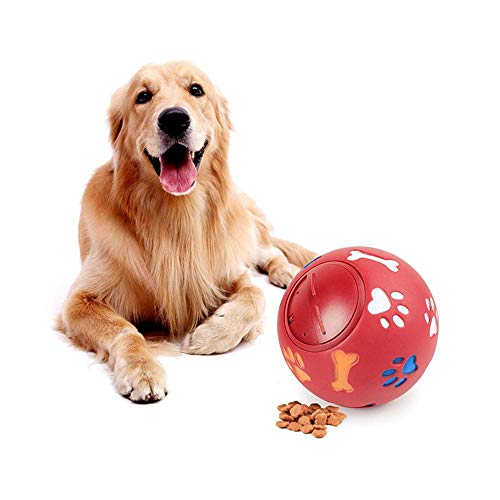 Aolvo Pet Dog Treat Ball, Fun Interactive Dog Food Dispenser Toy, Pet Healthy and IQ Ball, Environmental Soft Rubber Non Toxic, Cute 3D Surface with Milk Fragrance for Small Medium Large Dogs Cats