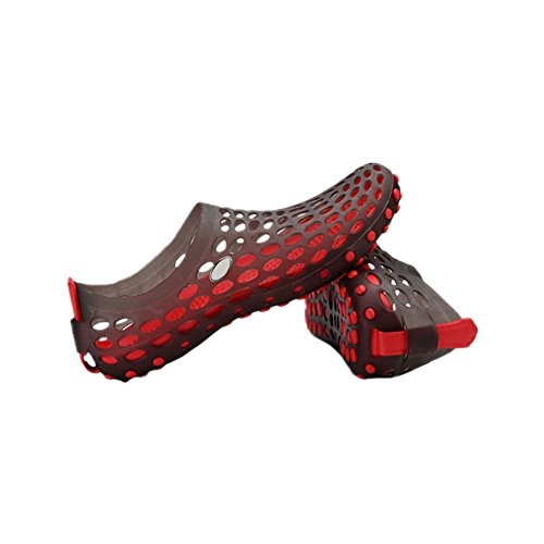 Haodasi Men Hollow Out Holes Sandals Breathable Beach Board Shoes Slippers Cool Shoes Black w/Red