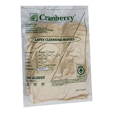 Cleanroom Class 100 Latex Gloves, Small (10 Bags/Case)