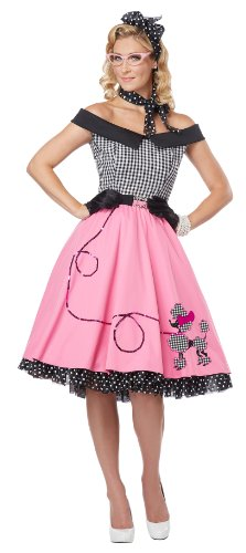 California Costumes Women's Nifty 50's Adult, Pink/White/Black, Medium