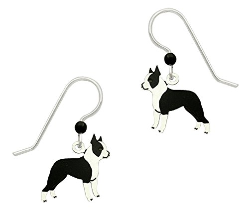 Adajio by Sienna Sky Handmade Boston Terrier Earrings - - Pear Face Men Shaped