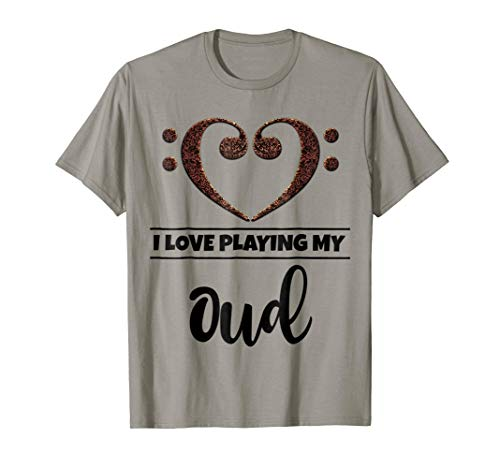 Double Bass Clef Heart I Love Playing My Oud Music Lover T-Shirt